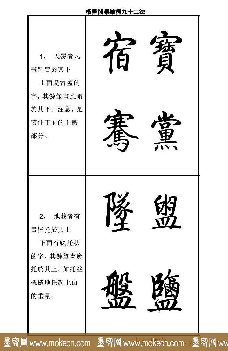 启功字帖楷书间架结构九十二法