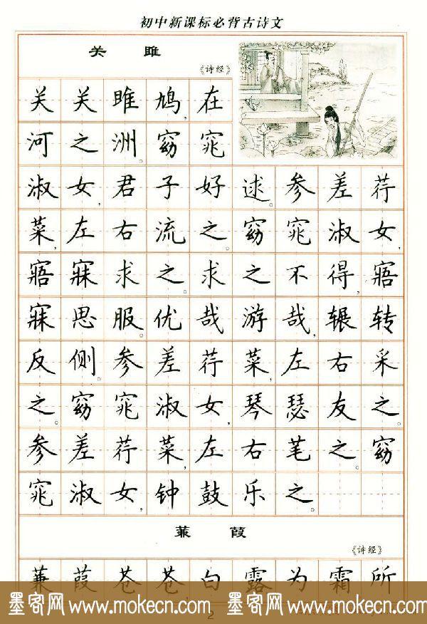 卢中南钢笔楷书字帖《初中新课标必背古诗文》