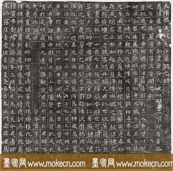 隋代书法石刻欣赏《杨厉墓志》清晰拓片全图