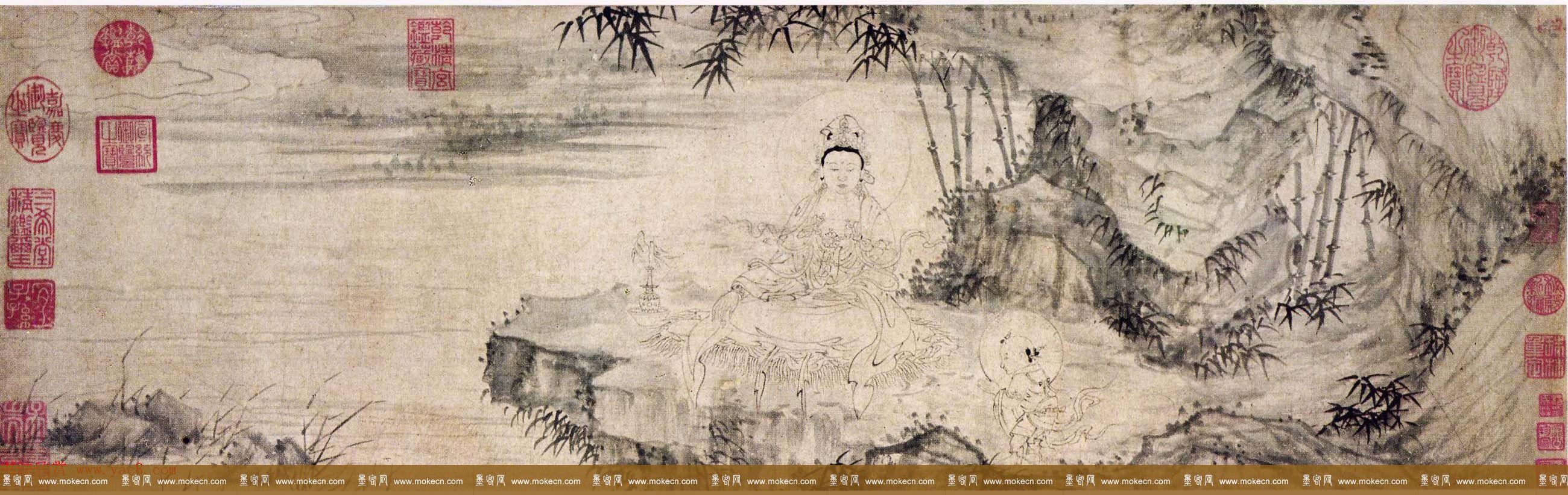 明初书画家王绂画观音书金刚经合卷辽宁省博物馆藏