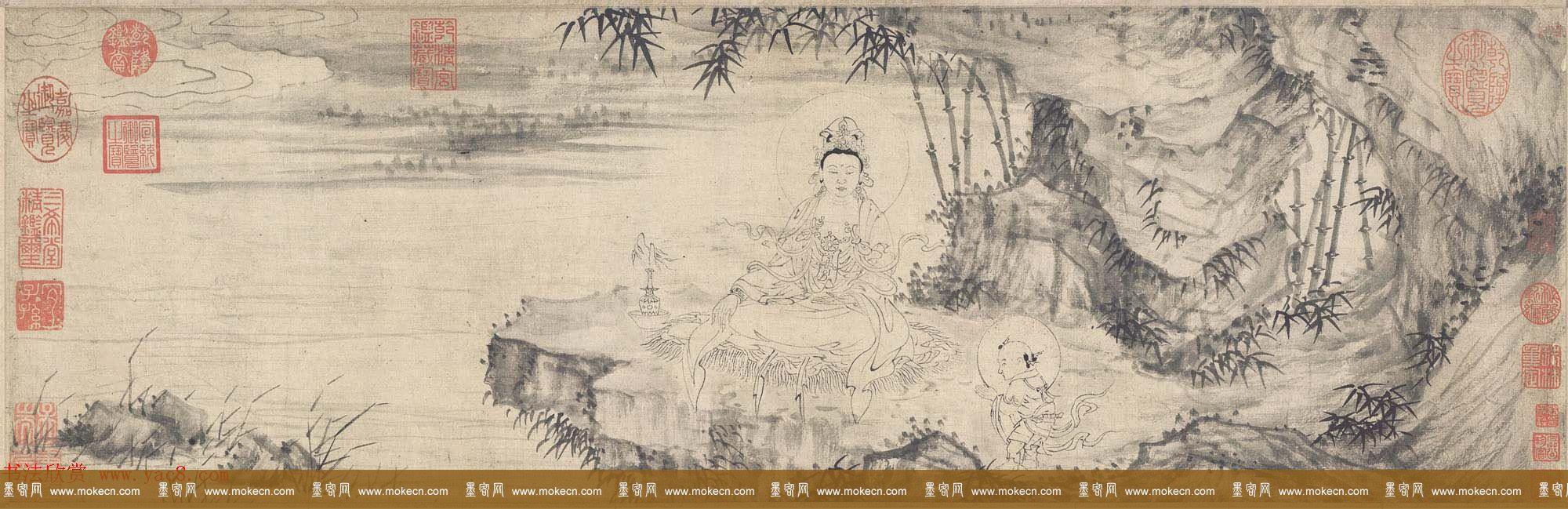 王绂书法字画欣赏《画观音书金刚经合壁》全卷