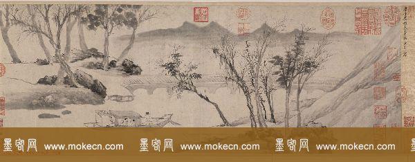 明代唐寅字画欣赏《垂虹別意图卷》